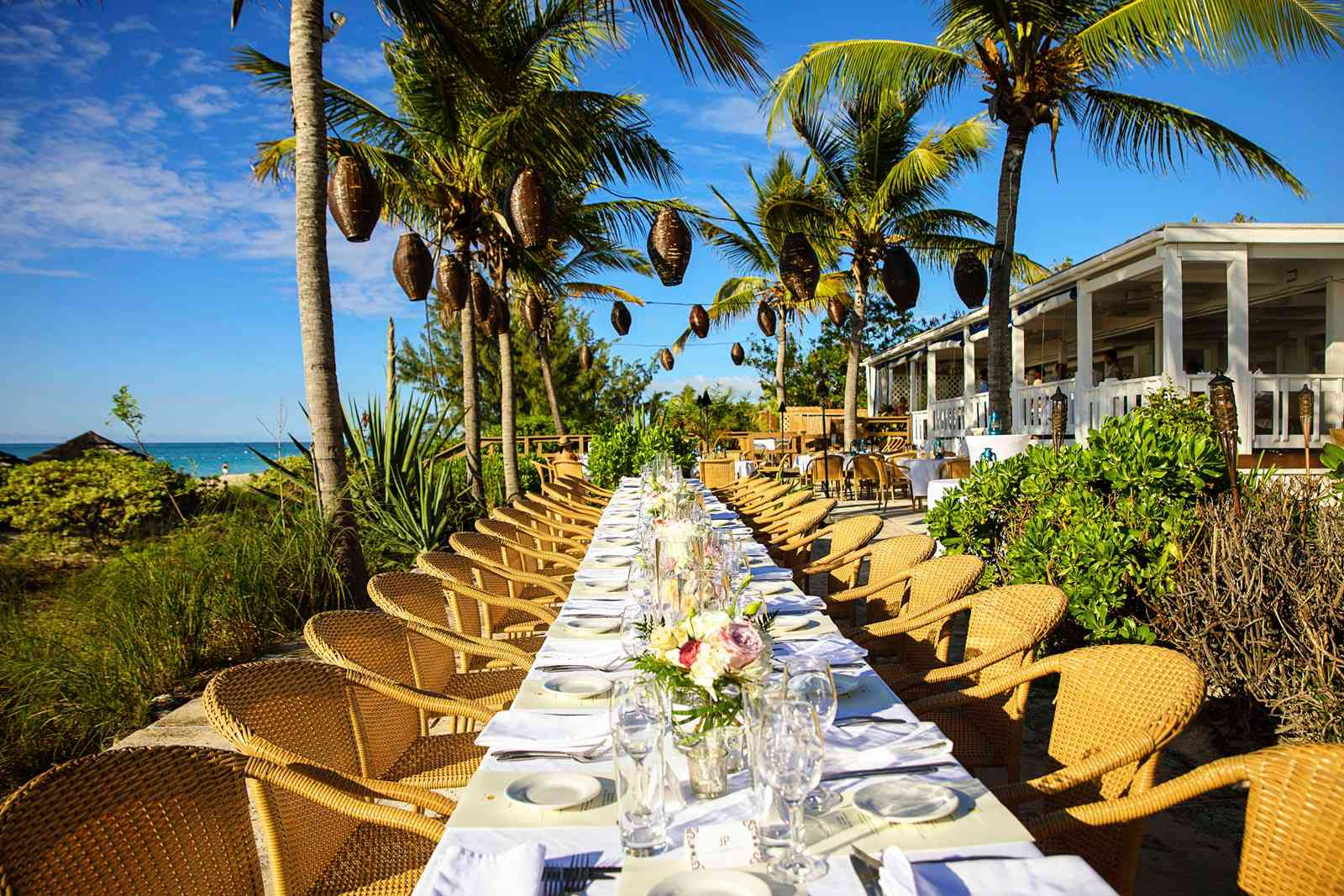 long outdoor communal table with wicker chairs and palm trees in the background