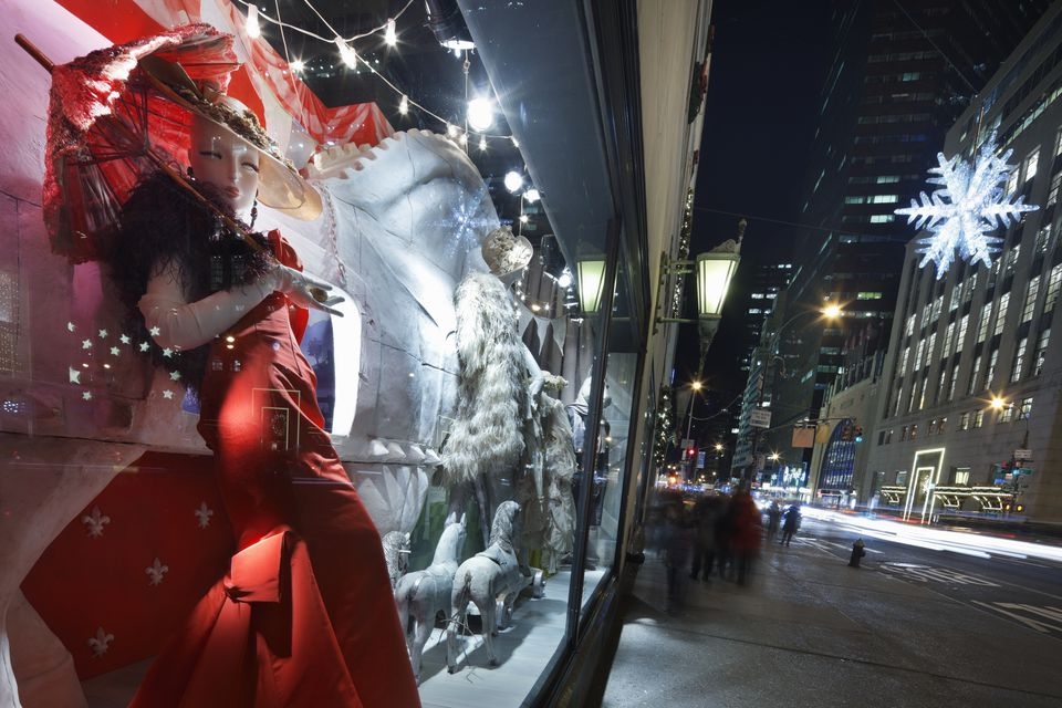 Festive store windows during the Holidays on 5th Avenue.