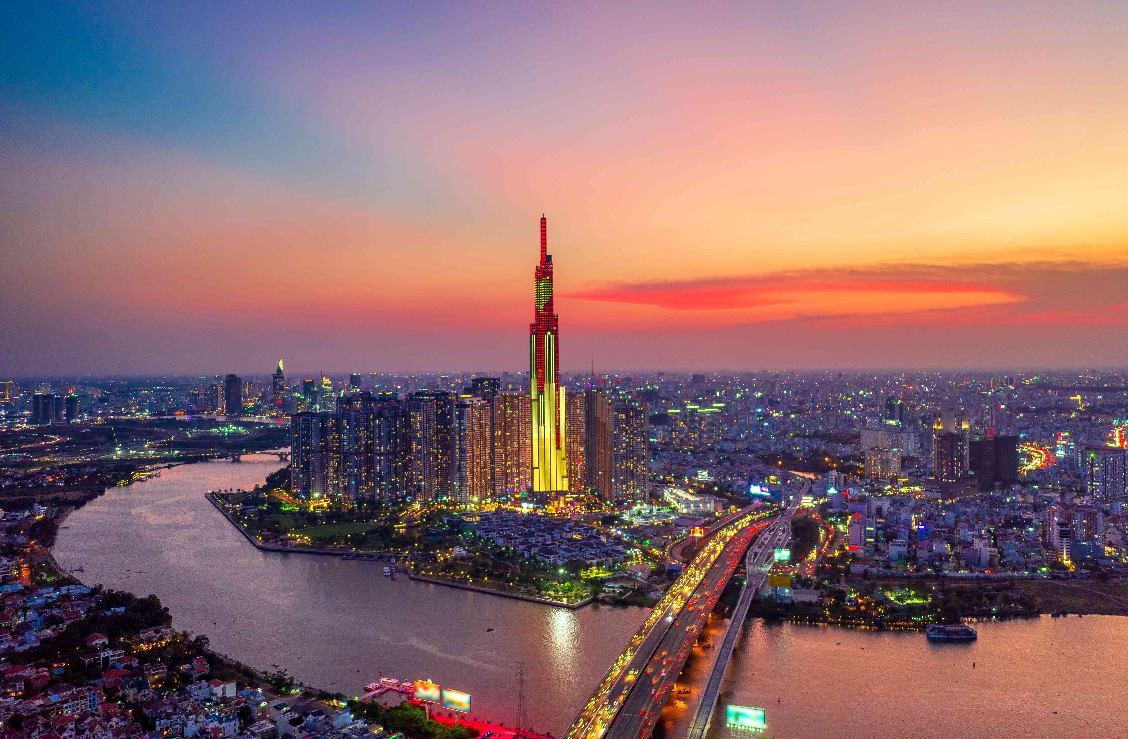 Landmark 81 illuminated at night in Ho Chi Minh City