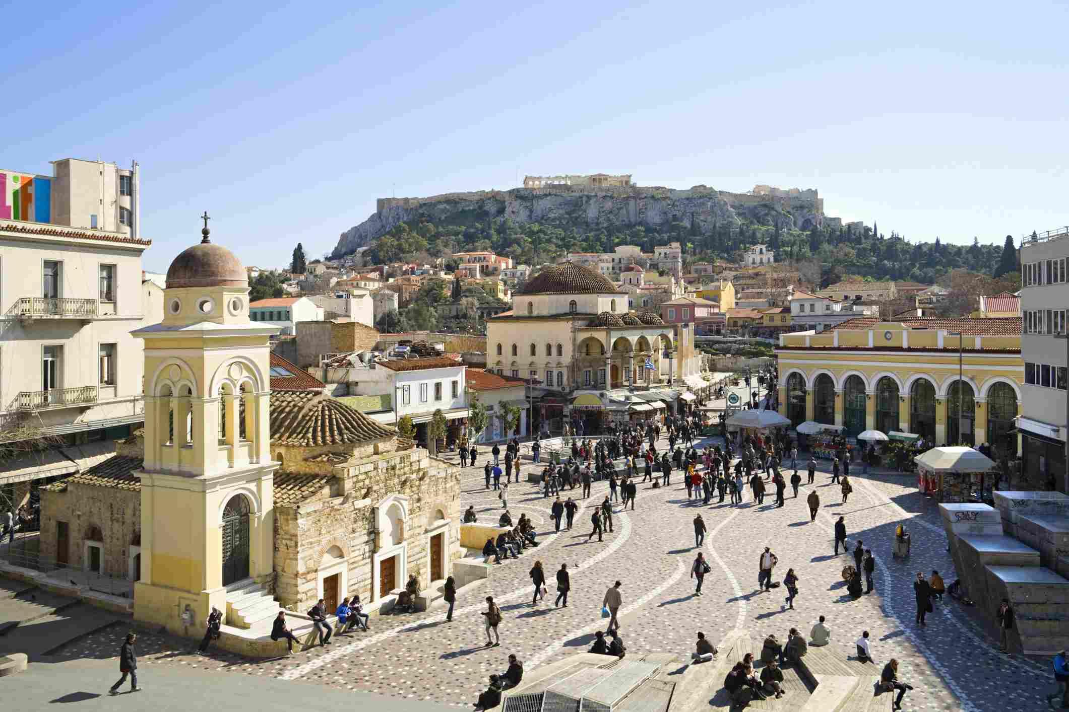 Elevated view of Monastiraki Square in Athens, Greece