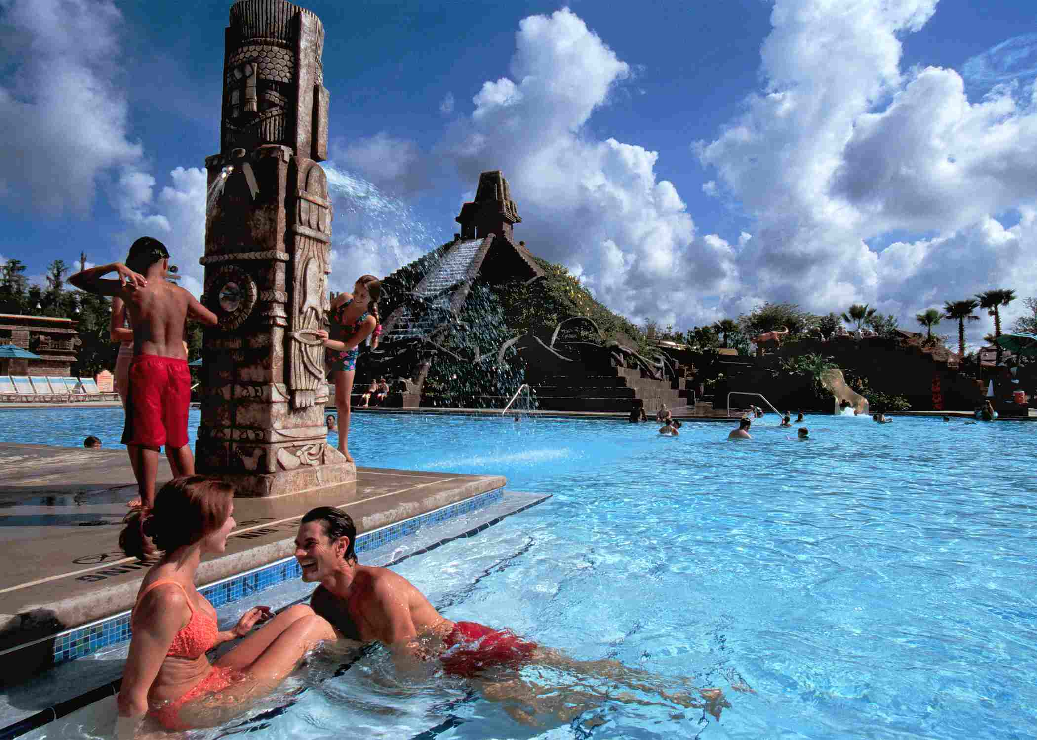 A five-story Mayan pyramid serves as the splashy centerpiece for the family-fun pool at Disney's Coronado Springs Resort