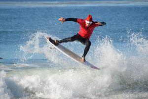 Surfing Santa in Orange County