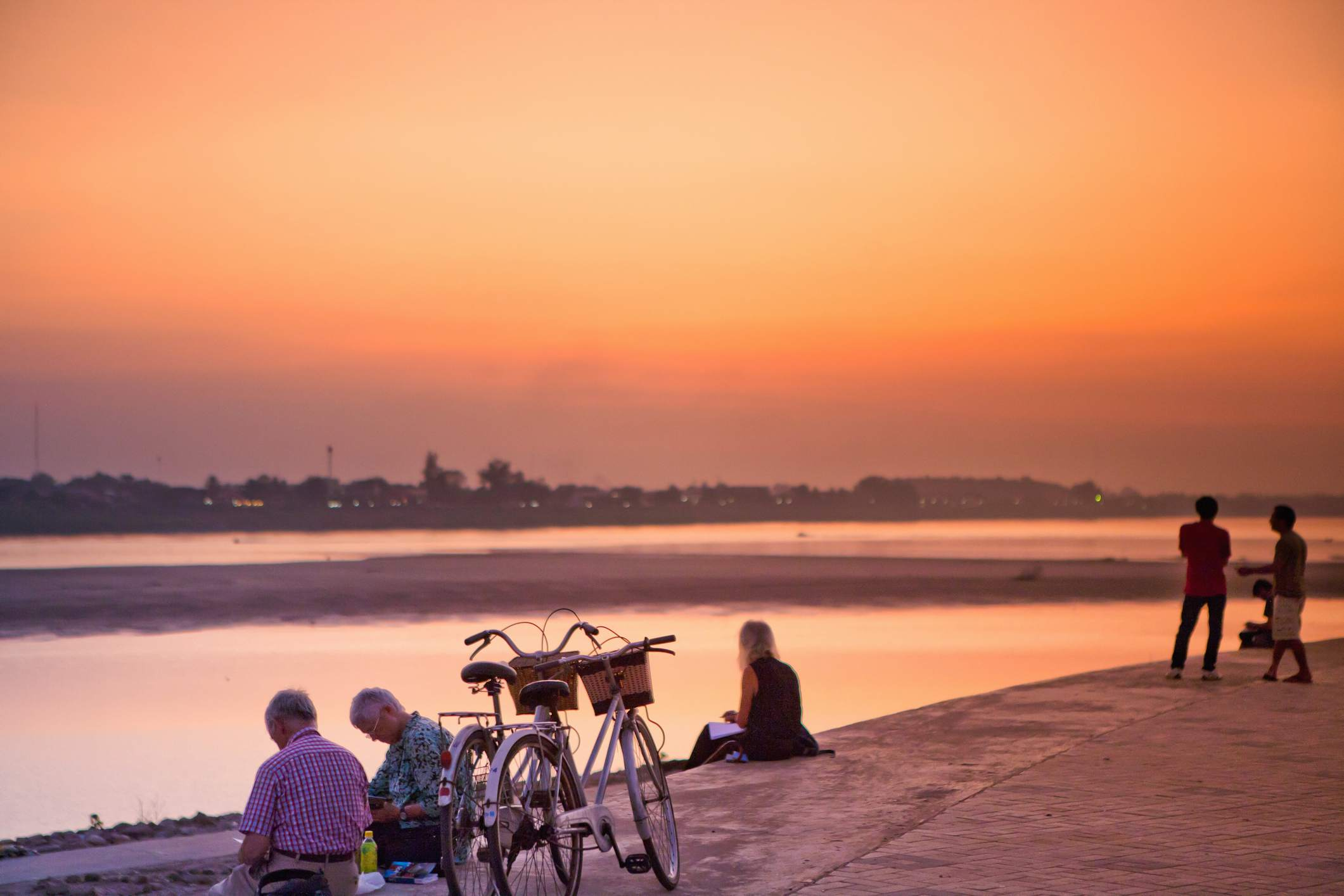 Watching a sunset on the Mekong River's Vientiane side