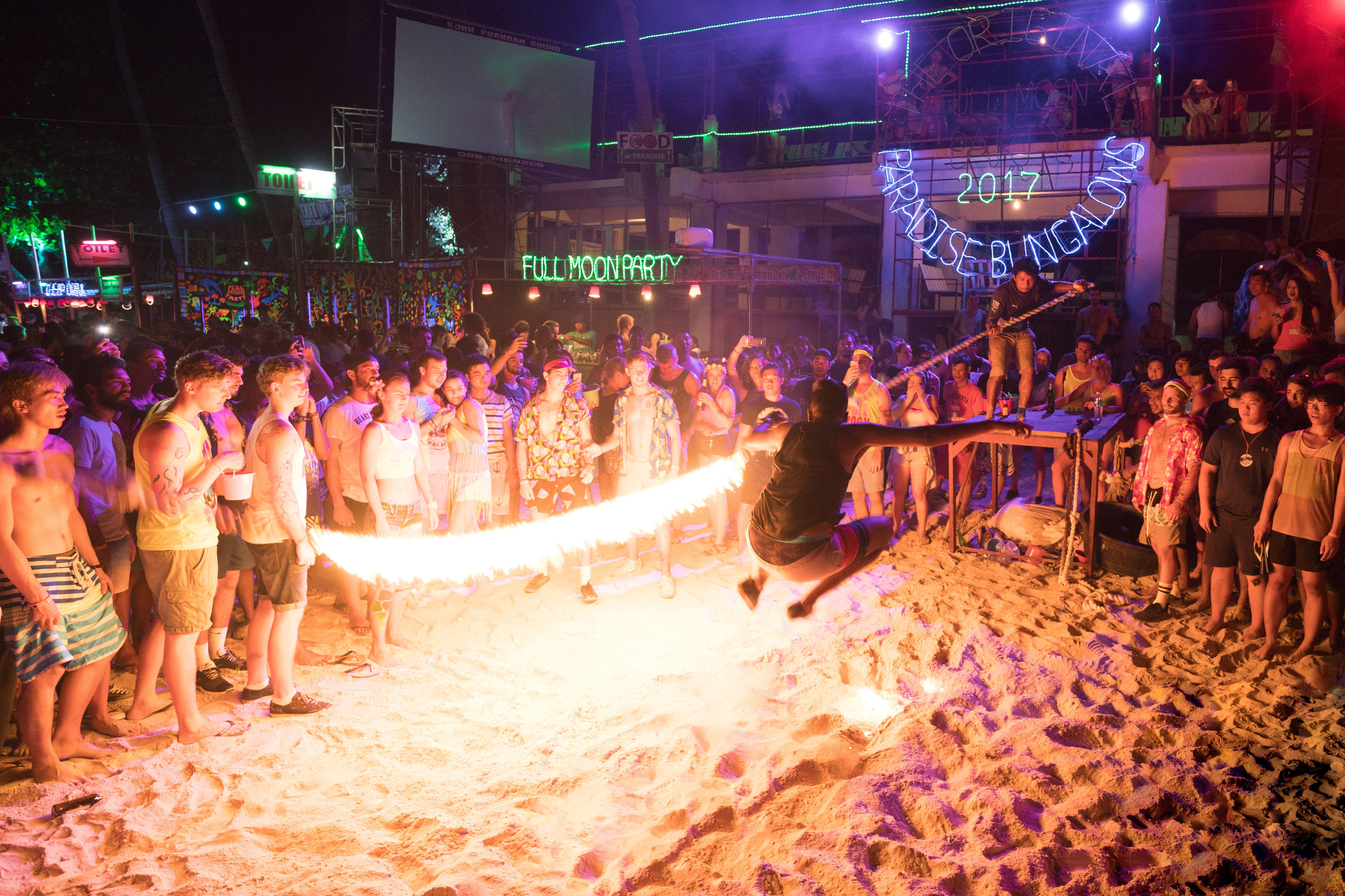Fire jumping at the Koh Phangan Full Moon Party