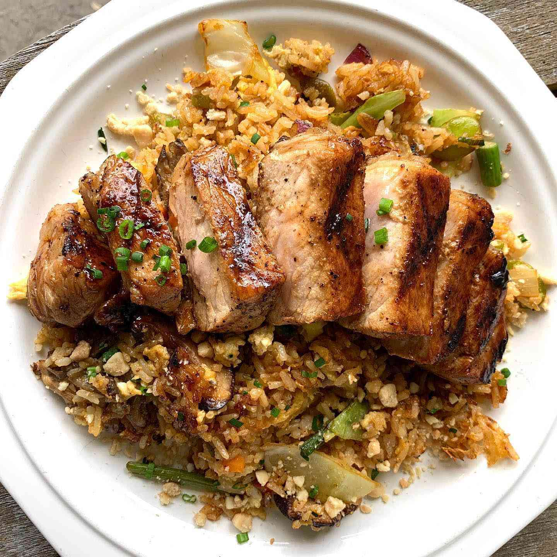 Grilled Pork CHop over Fried Rice