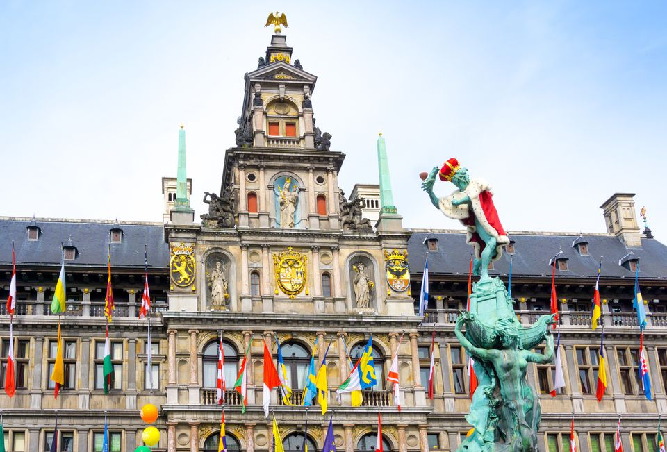 View of Brabo Fountain against Antwerp City Hall At Grote Markt