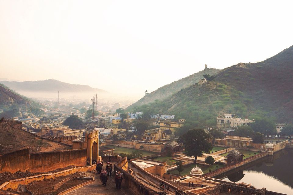 High angle view of fortress overlooking Jaipur cityscape