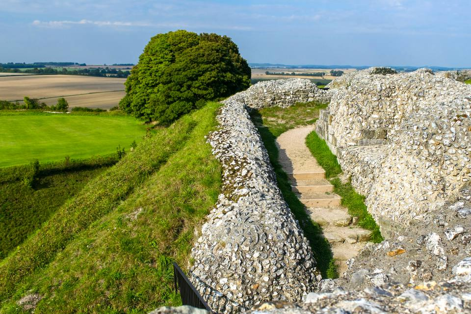 Walls of ancient Roman hill fort of Old Sarum outside Salisbury, UK