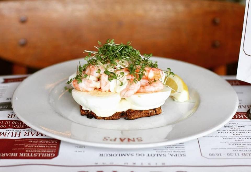 open face sandwich with egg and shrimp from Snaps Bistro