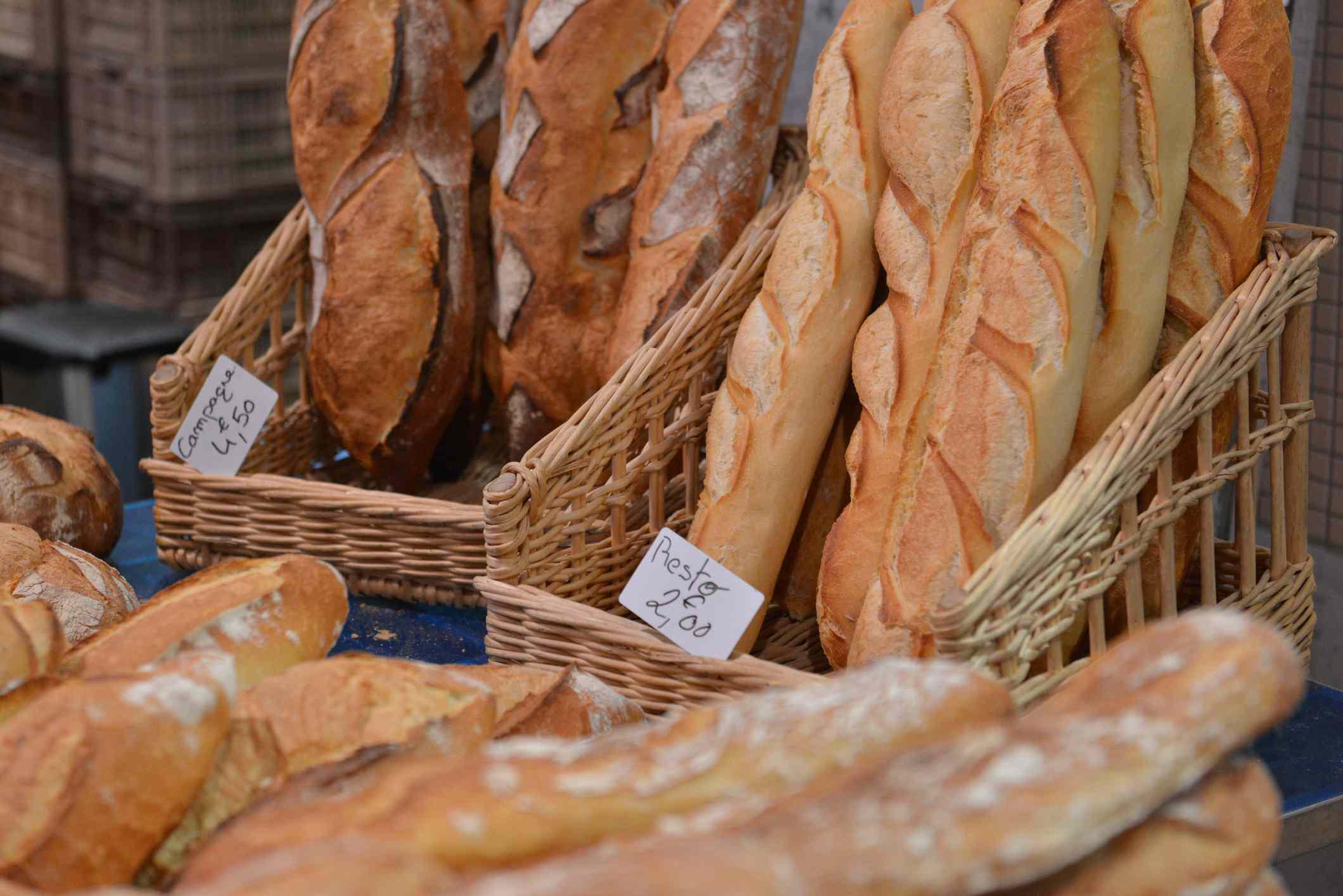 Barras de pan y baguettes a la venta, Francia