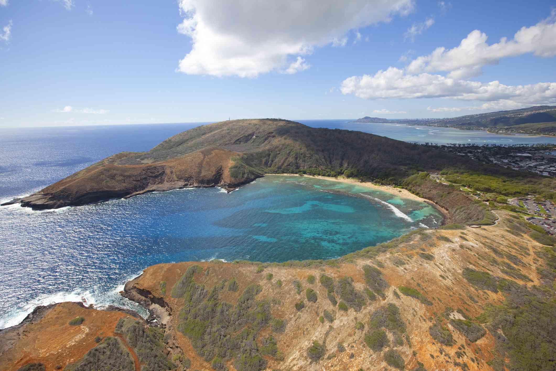 Arial view of Hanauma Bay on Oahu