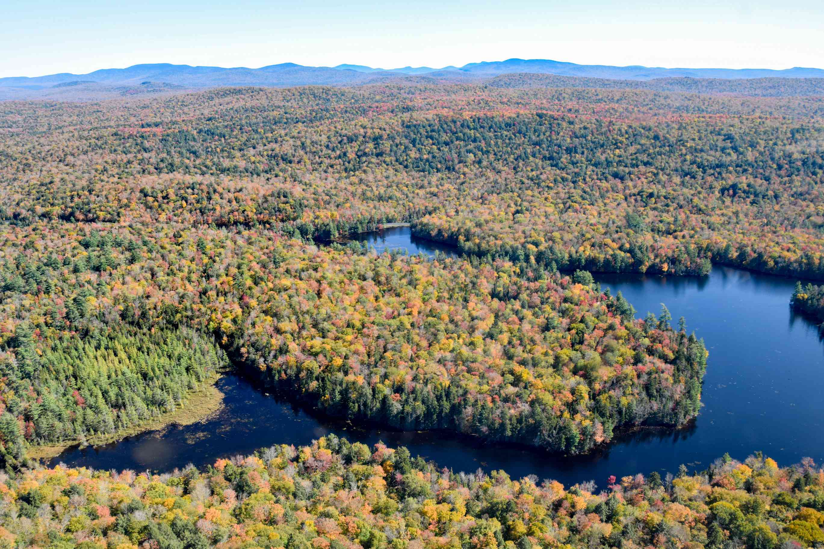 Aerial view of colorful fall foliage in the Adirondacks