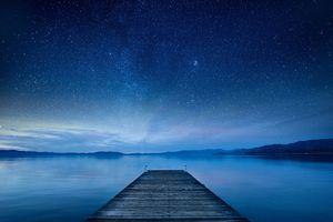 Lake Tahoe pier under the stars