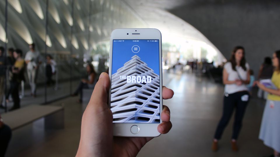 A visitor using the Broad App in Los Angeles