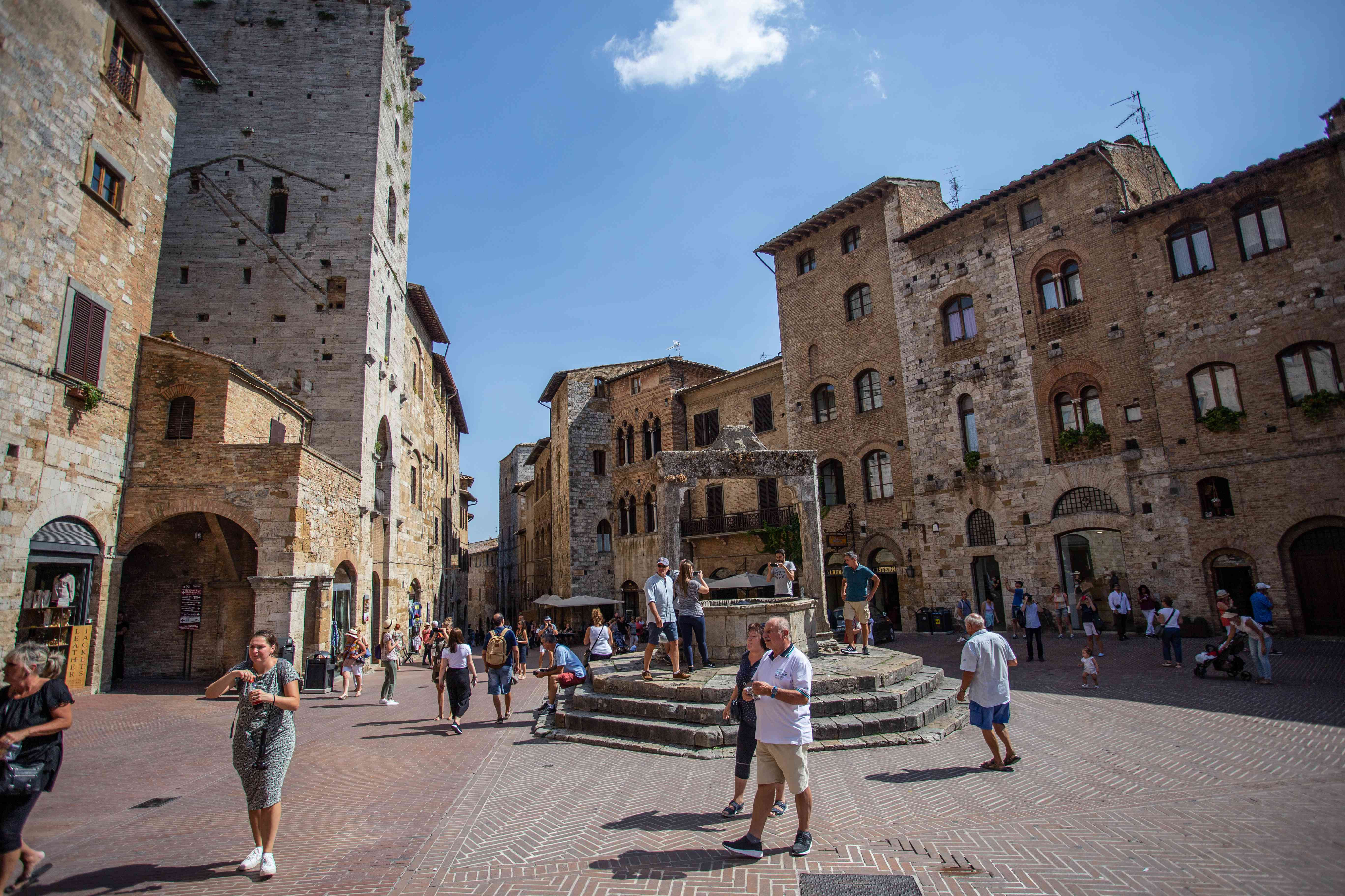 The center of the old town of San Gimignano