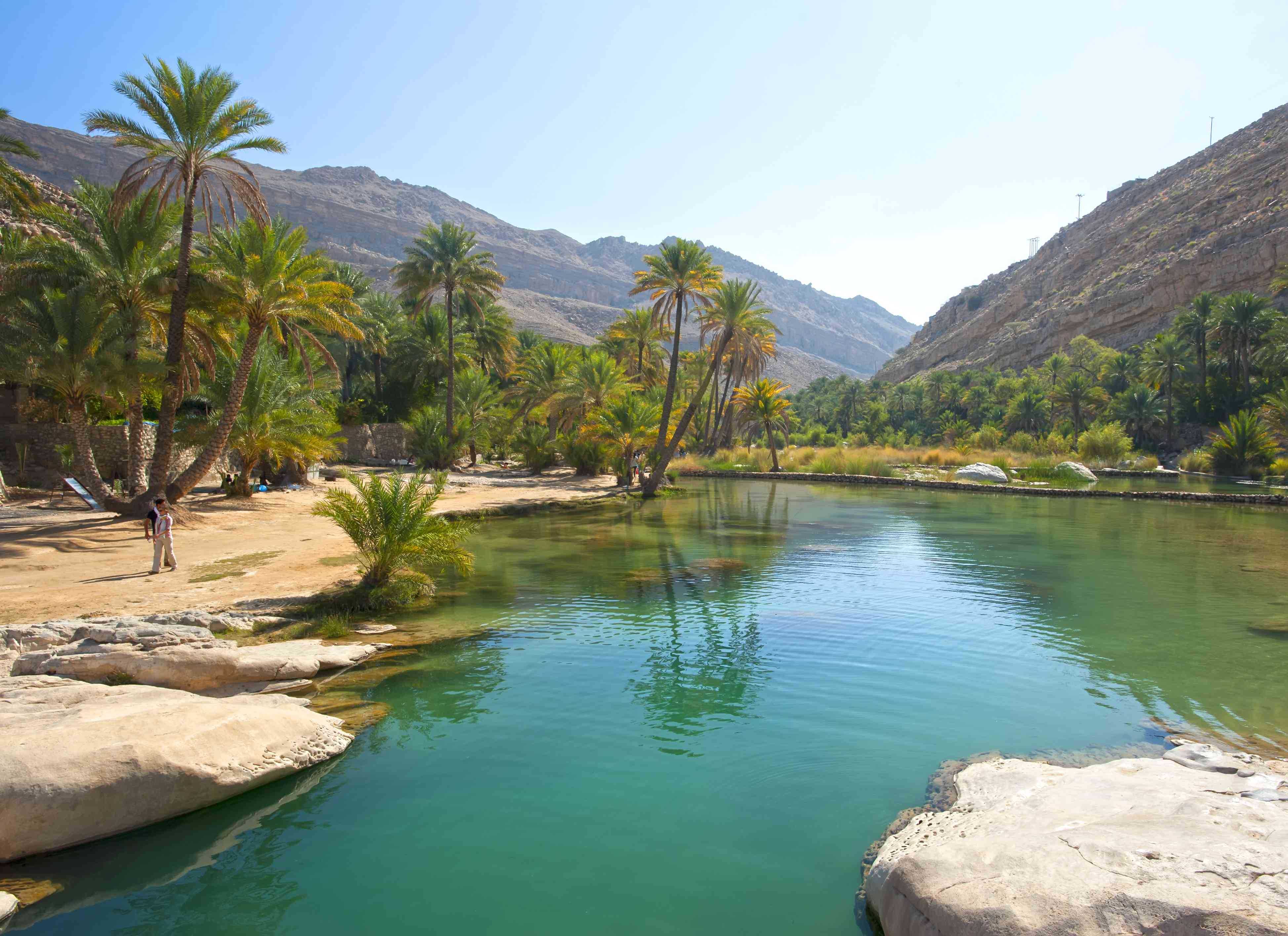 Wadi Bani Khalid oasis in Oman surrounded by lush greenery with mountains in the background