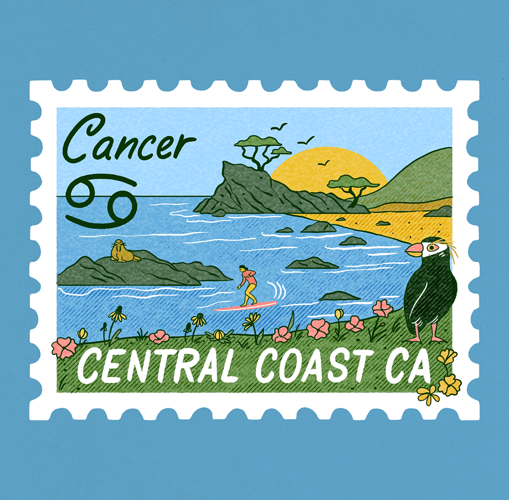 An illustration of a stamp with a scene of Monterey, California. A beach scene with animals and a surfer, and Cancer written on it.
