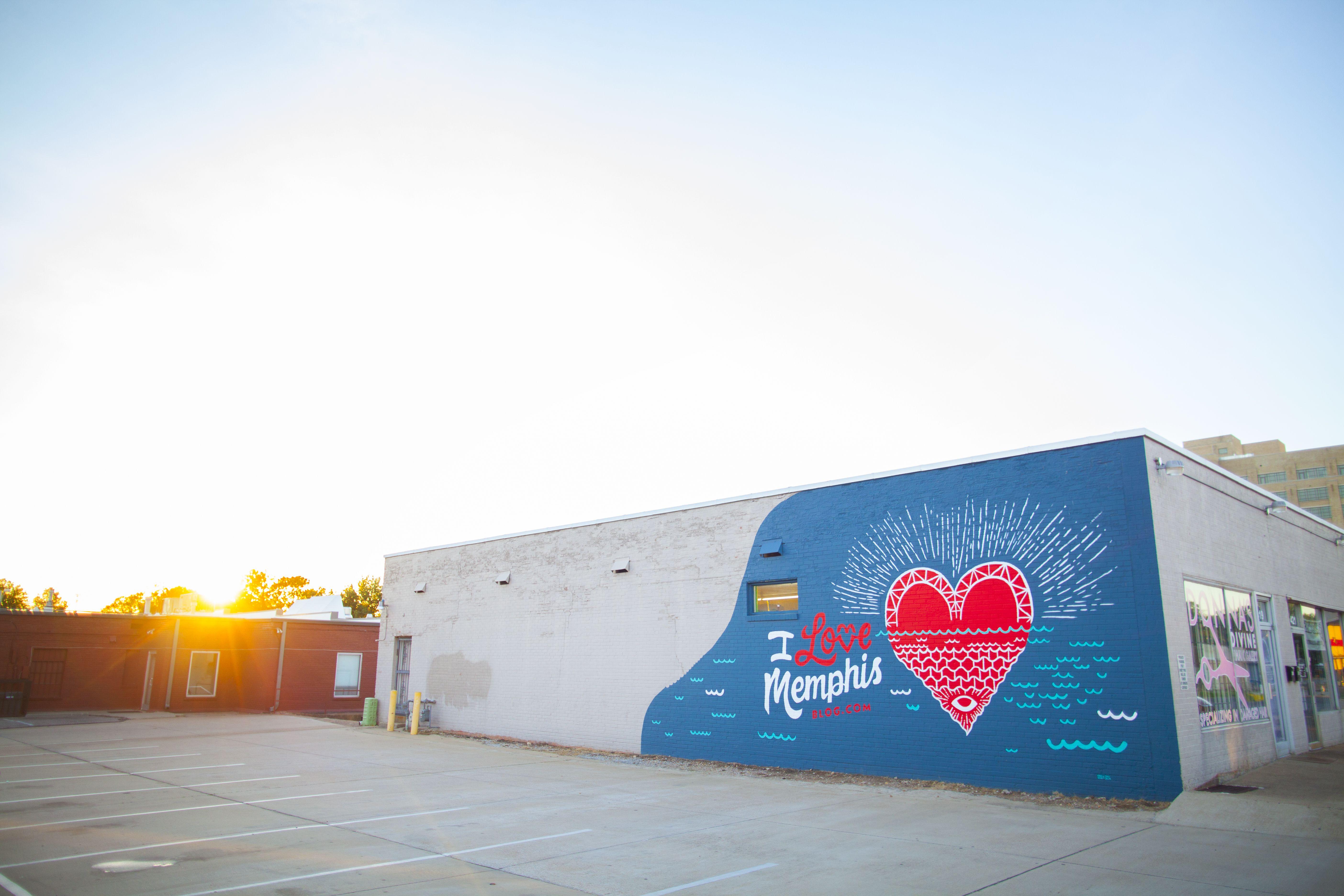 I Love Memphis mural at sunset