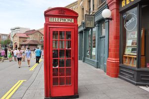 Red english telephone booth in Universal Studios Orlando