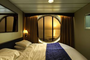 Sunset aboard a cruise ship cabin