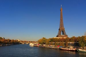 View of the Eiffel Tower and the Seine River in autumn