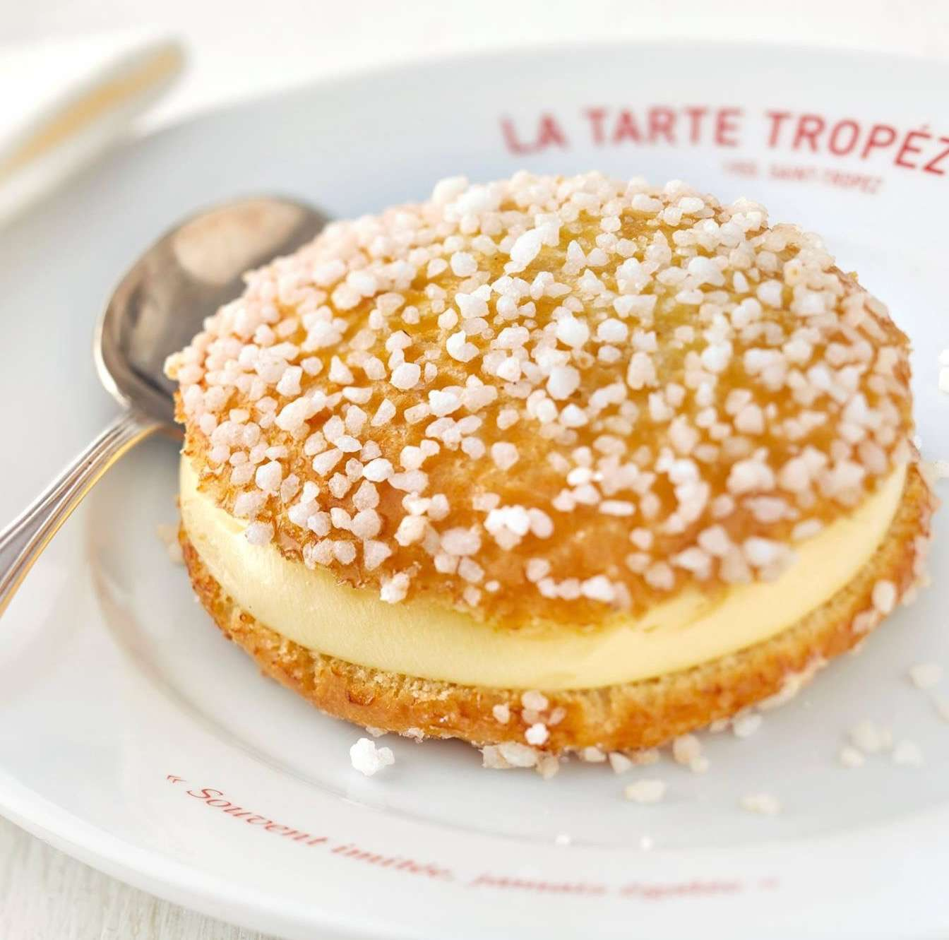 La Tarte Tropezienne, a cream-filled cake native to St-Tropez.