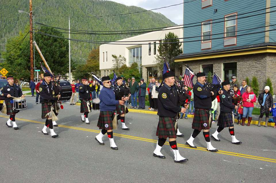 Bagpipers marching in the Alaska Day Festival
