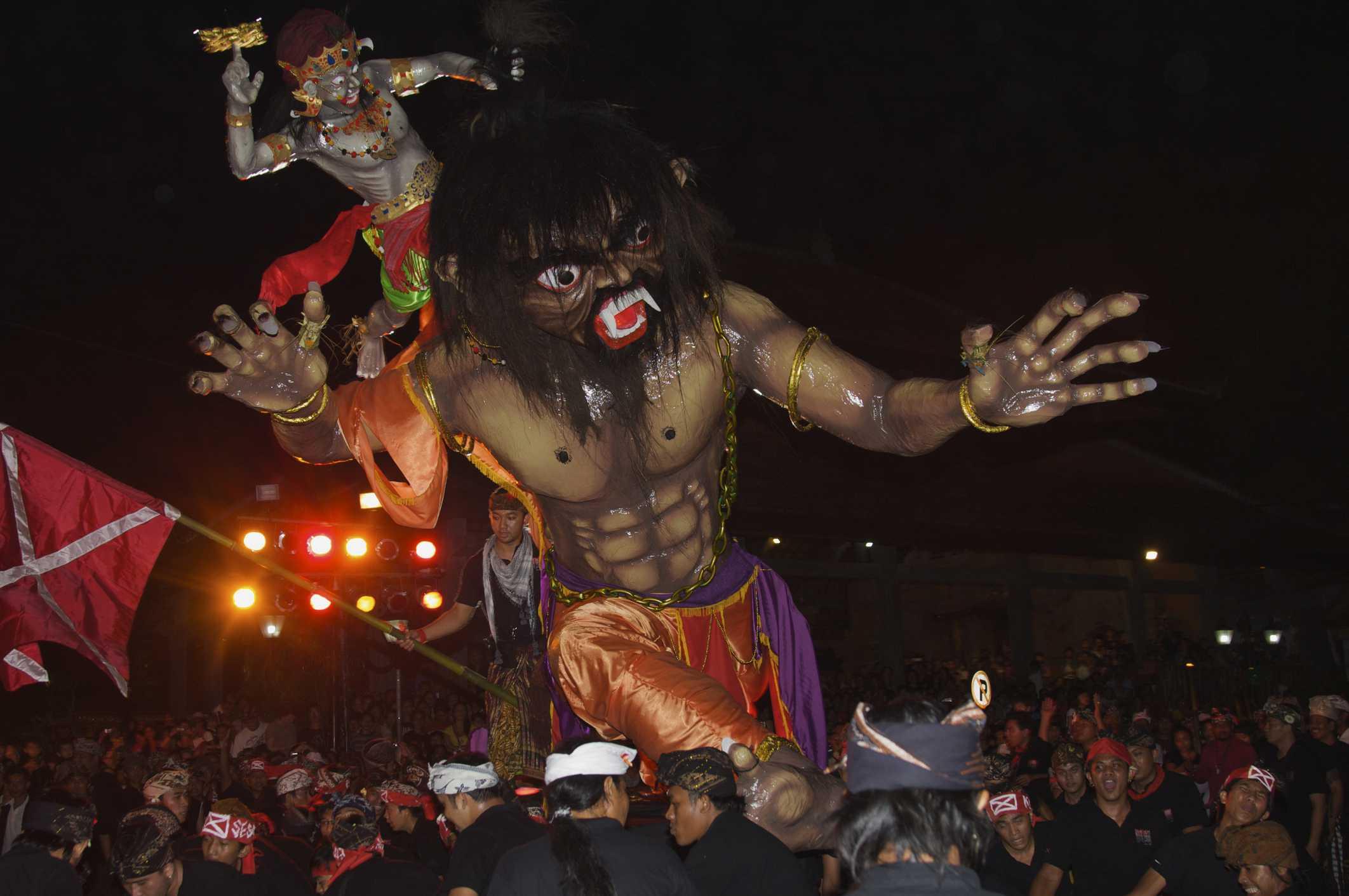 Ogoh-ogoh in parade, night before Nyepi