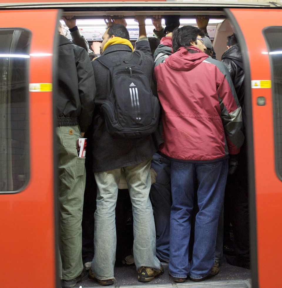 crowded underground tube in london during rush hour