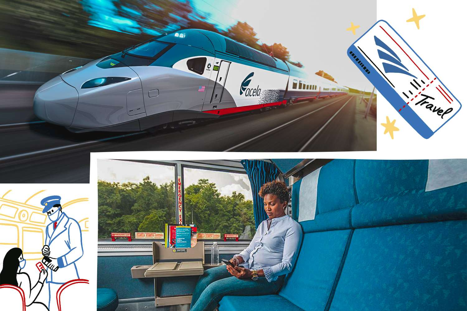 Photos of an Amtrak train and a passenger in side. Illustrations of a ticket and a conductor checking tickets