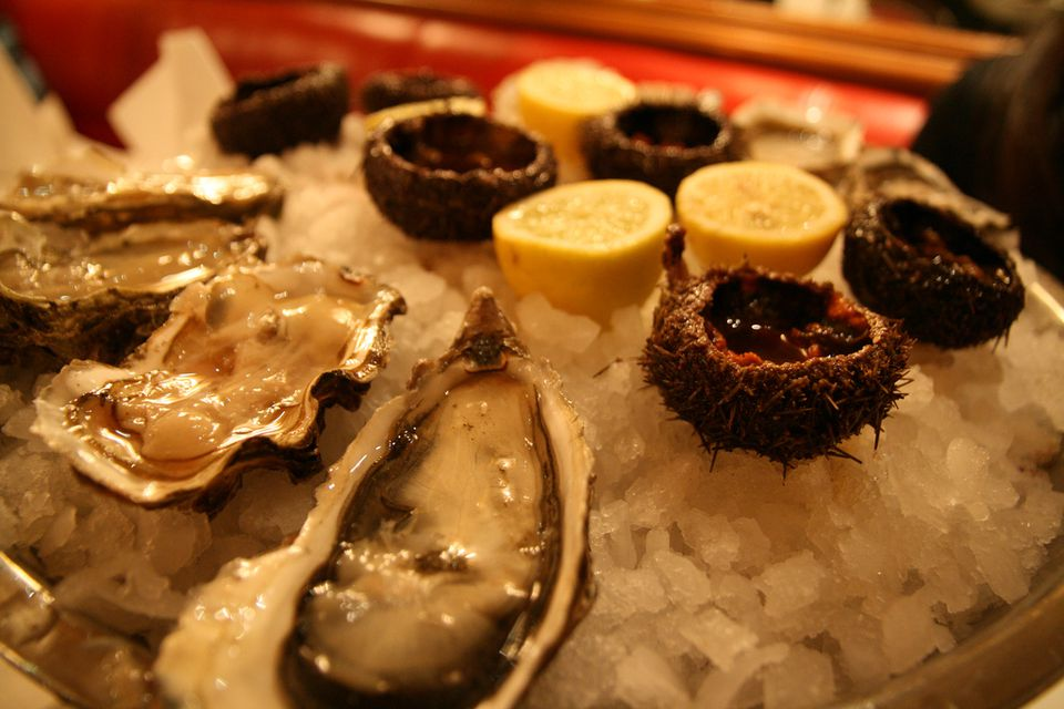 A platter of oysters is a traditional Christmas starter at many restaurants in Paris.