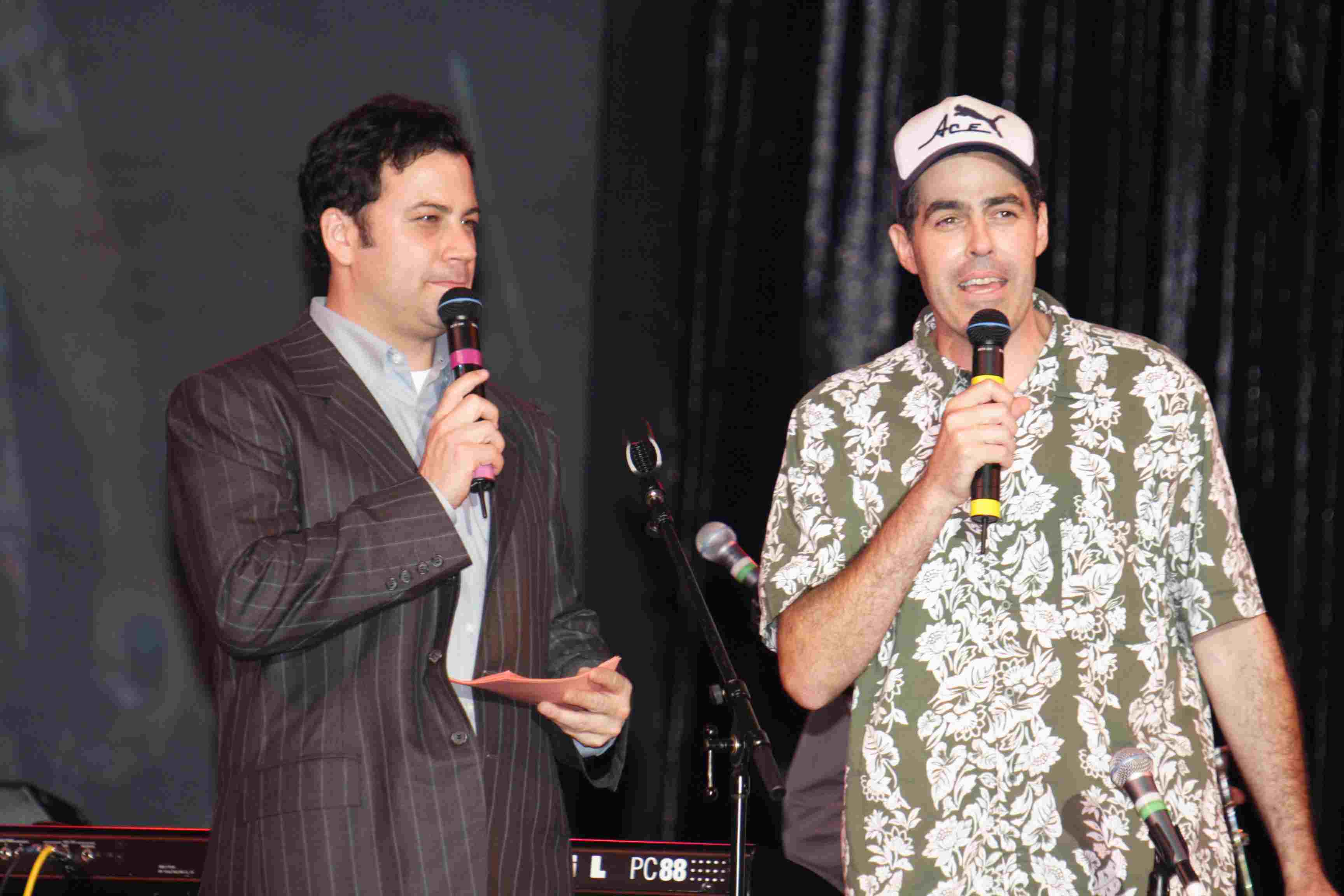 Jimmy Kimmel and Adam Carolla at the Feast of San Gennaro in 2005