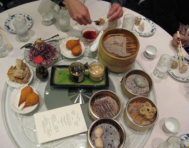 Dim sum plates on table at Yank Sing
