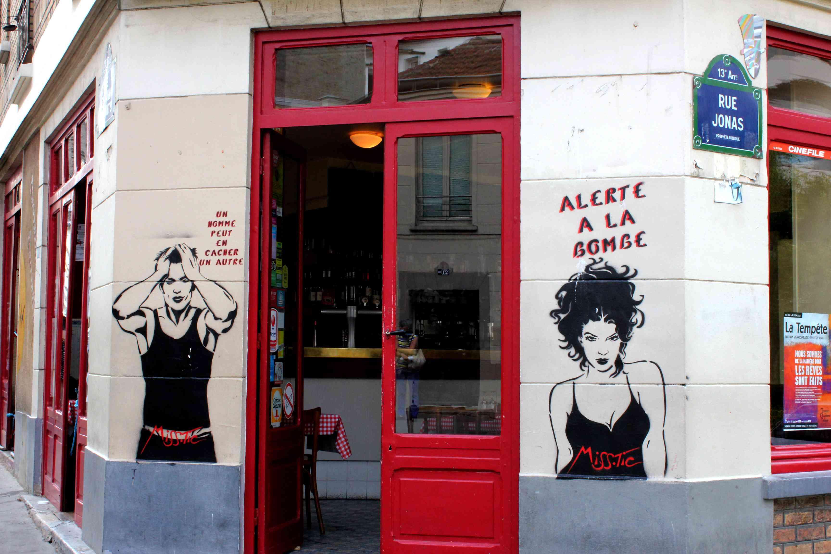 Miss Tic street artist in Paris, Butte aux Cailles