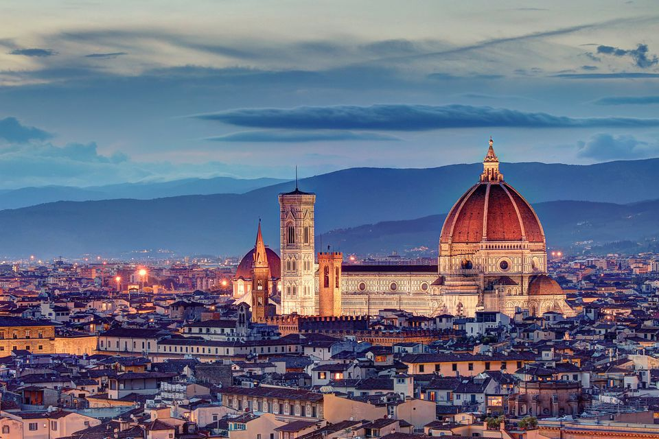Florence Cathedral after the sunset
