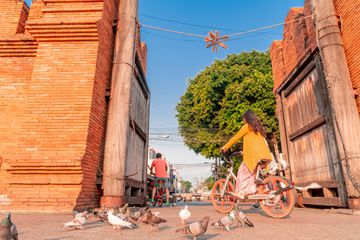 Bicycle entering Old City, Chiang Mai, Thailand