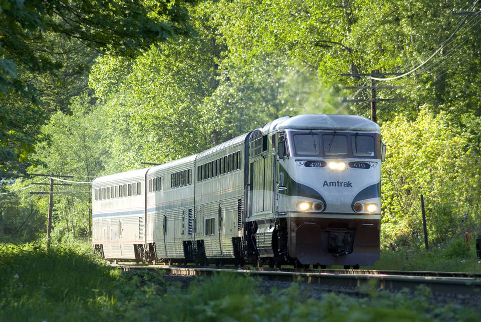 Amtrak train traveling through a wooded area