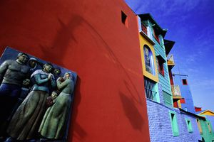 Argentina, Buenos Aires DF, La Boca, artwork on side of building