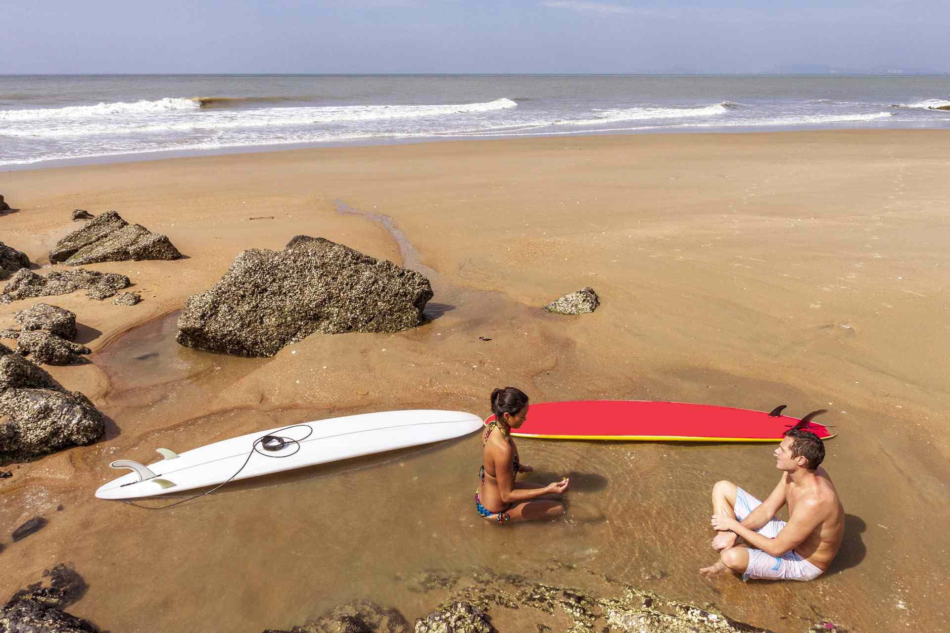 Surfers chilling on Vung Tau, Vietnam
