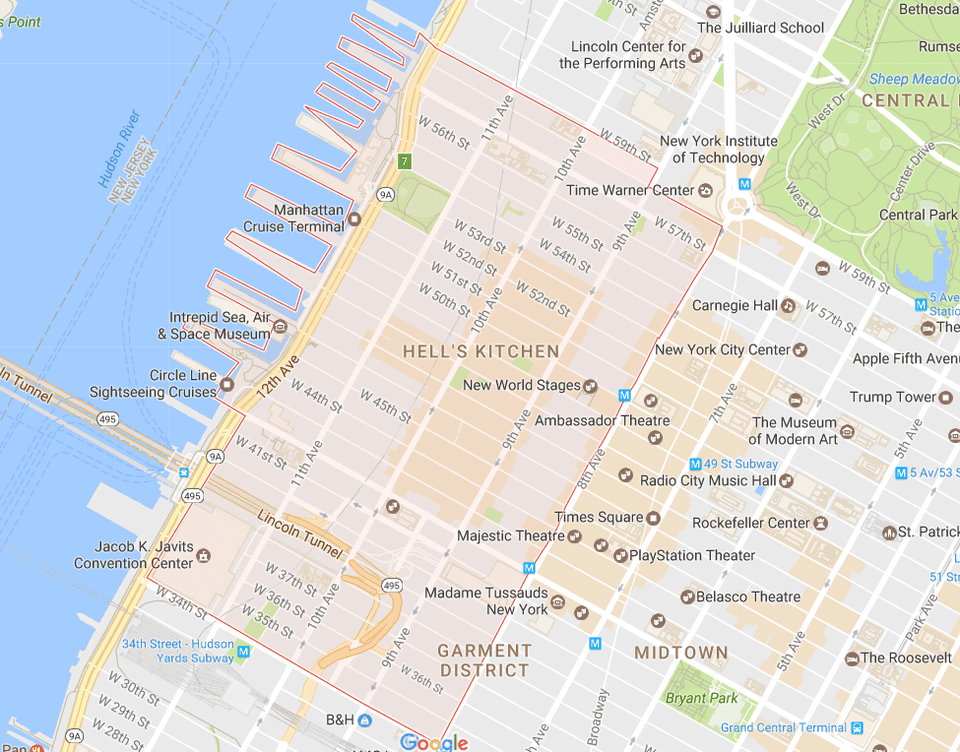 Map Of New York Neighborhoods Manhattan.New York City Midtown West Neighborhood Map