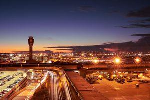 Phoenix Sky Harbor International Airport at sundown