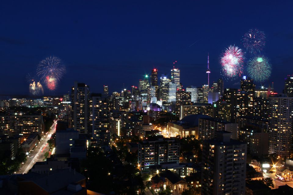 Victoria Day Festivity in Toronto as fireworks light up the sky.