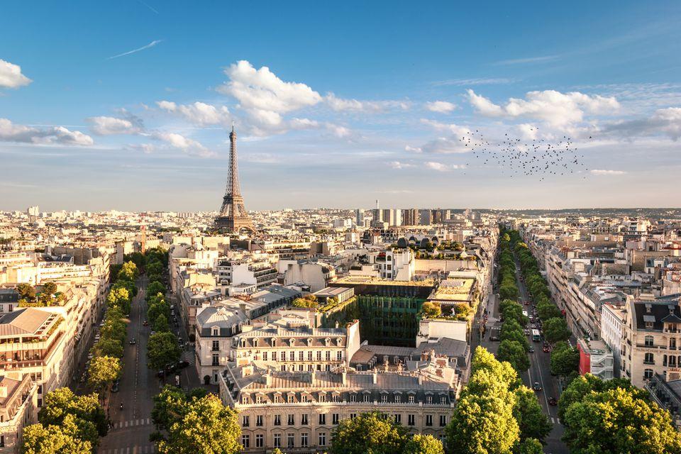 View of Eiffel Tower between trees, Paris, France