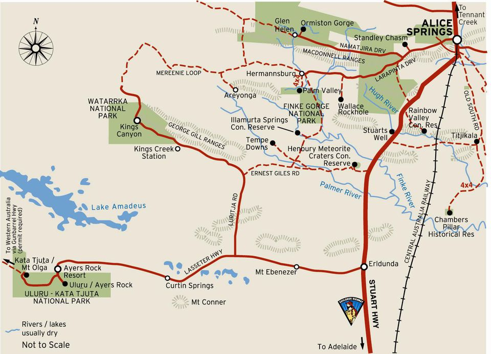 Alice Springs to Uluru Map