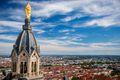 Notre Dame de Fourvière, Lyon, France, and view over the city
