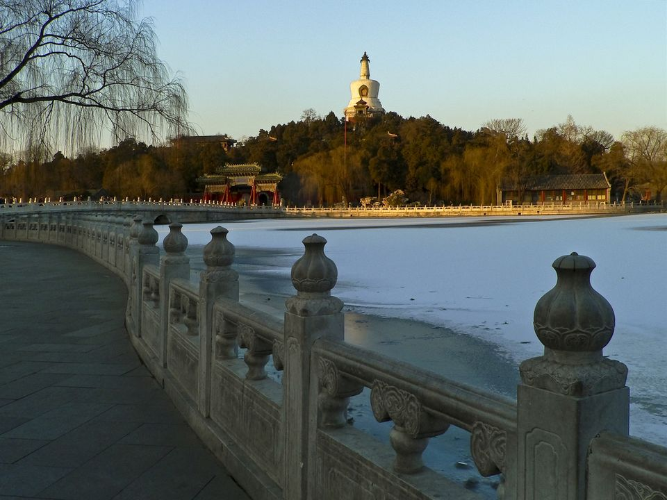 China, Beijing, Beihai Park, bridge of overlasting peace and white pagoda