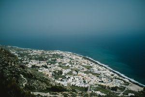 The town of Kamari viewed from above, Thira, Santorini.
