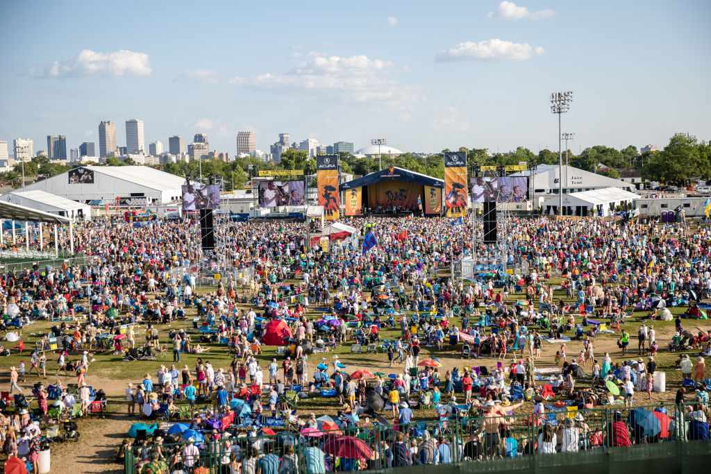 An aerial view of the atmosphere at the Acura Stage during the New Orleans Jazz & Heritage Festival at Fair Grounds Race Course
