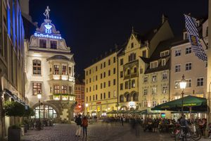 The Hofbrauhaus at night in Munich, Germany