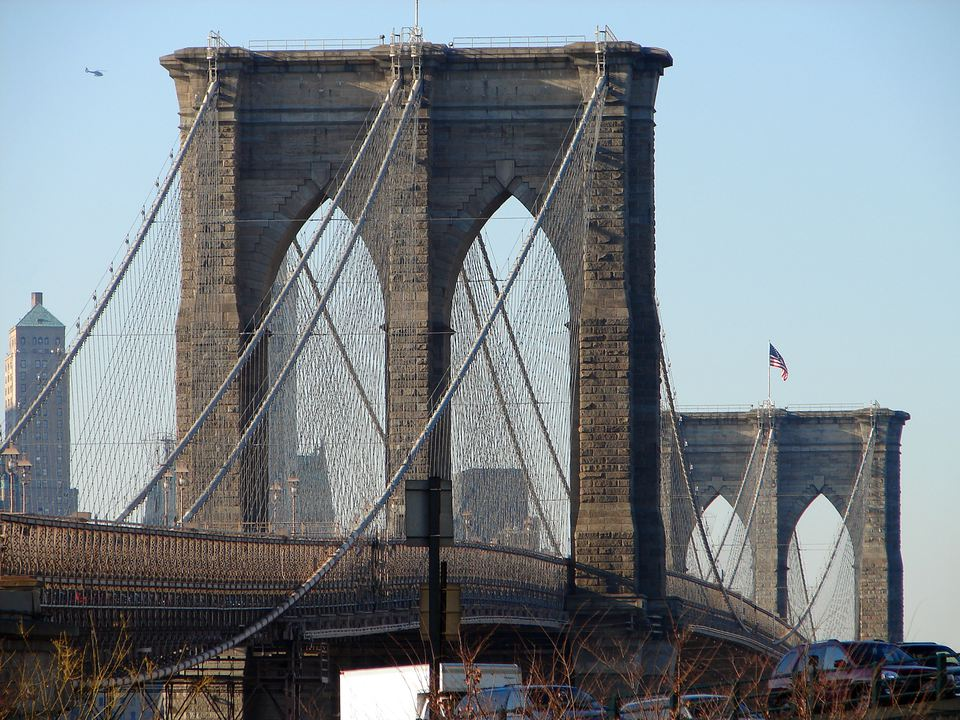 The Brooklyn Bridge viewed from the Prospect Street, in Brooklyn, New York